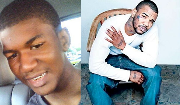 No, Trayvon Martin did not have a face tattoo. That's rapper The Game.
