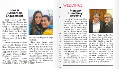 Wedding Announcements Newspaper.Ljworld Prints Same Sex Wedding Engagement Announcements
